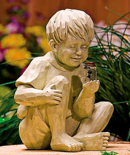 Solar Garden Light Boy with FireFly
