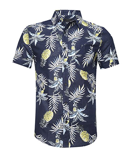 (AVANZADA Men's Button Down Short Sleeve Pineapple Casual Tropical Hawaiian Shirt Navy XL)