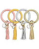 ATIMIGO 4PCS Keychain Bracelet Wristlet Big Bangle Key Holder Round Keyring Leather Tassel Key Ring Chain for Women Girls