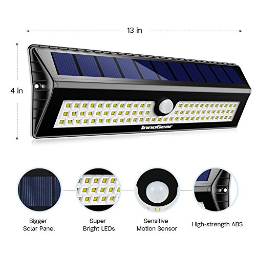 InnoGear Upgraded 77 LED Solar Lights Outdoor Motion Sensor Wall Light Auto On/Off with 3 Modes Outdoor Waterproof Security Lights Night Light for Wall Fence Deck Yard Garage Driveway, Pack of 2 by InnoGear (Image #1)