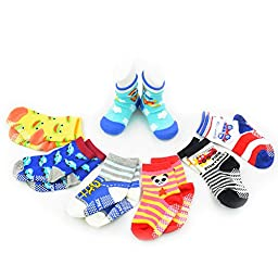 12 Pairs Anti-slip Socks Toddler Socks, HOVEOX Kids Baby Socks Non-Skid Crew Walkers Unisex Random Color
