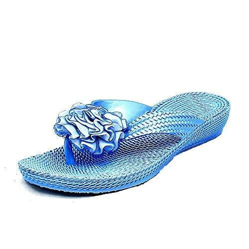 Blue Gummi Zehentrenner Rosette Blau Sandalen SendIt4me RUOXxn