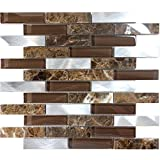 Modket TDH216MO Brown Emperador Dark Marble Stone Blended Metallic Aluminum and Glass Mosaic Tile Backsplash