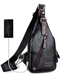 Sling Backpack Men Leather Chest Bag Crossbody Shoulder Bag For Men(black)