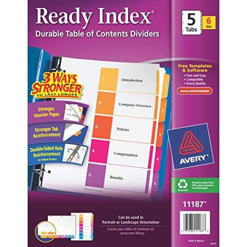 Avery Ready Index Table of Contents Dividers, 5-Tab Set, 6 S