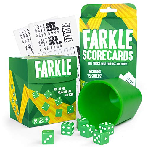 Farkle: The Family Dice Game Bundle | Farkle Game Set, 75 Additional Scorecards | Includes Dice Cup, Set of 6 Green Dice, Storage Box, 100 Scorecards