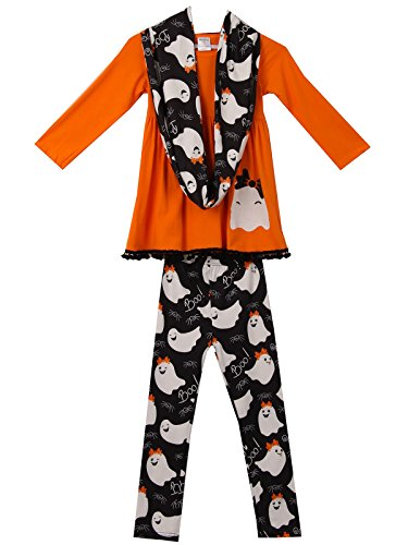 Little Girls' 3 Pieces Set Halloween Outfit Long Sleeve Top Pants Scarf ClothingOrange 4 M (P400483P) for $<!--$22.99-->