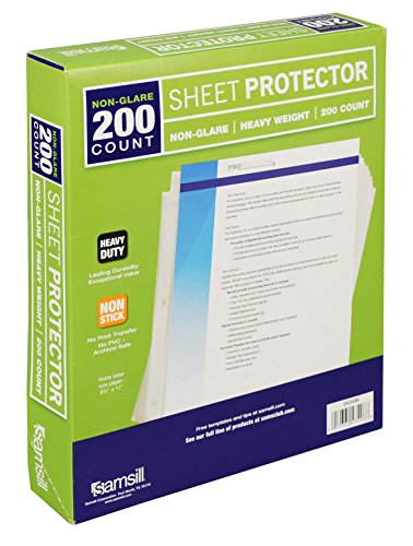 Samsill Heavyweight Non-Glare Sheet Protectors, Box of 200 Plastic Page Protectors, Acid Free / Archival Safe, Top Load 8.5 x 11 (Non Glare Plastic)