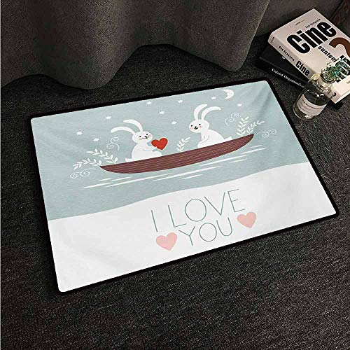 HCCJLCKS Fashion Door mat I Love You Rabbit Couple Sailing on Boat in The Lake Valentines Partner Cartoon Country Home Decor W35 xL47 Baby Blue Umber White (Best Sailing Lakes In Us)
