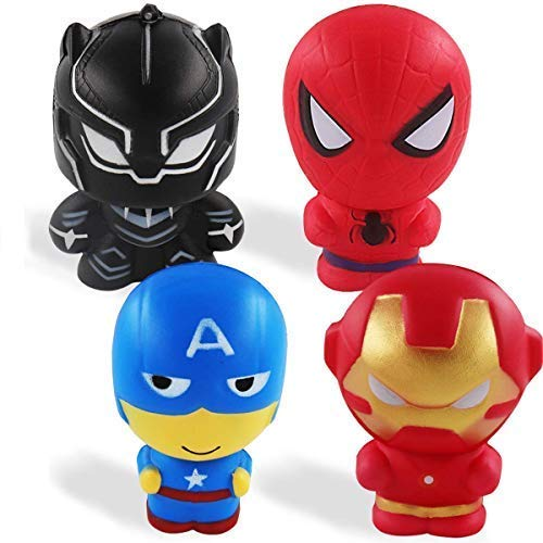 POKONBOY Squishy Toys Super Hero Toys - 4 Pack Upgraded Squishies Slow Rising Toys Jumbo Squishies Pack Party Supplies Boys Girls Kids Stress Relief Toy Easter Eggs Filler Decorations -