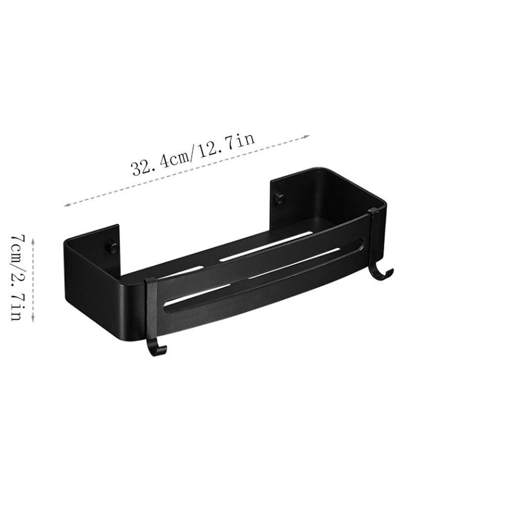 YXN Space Aluminum Bathroom Square Shelf Bathroom Hardware Accessories Single Layer Cosmetics Black Shelf Storage Rack (Size : Single floor)