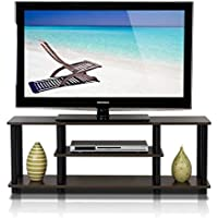 TV Cabinet Unit Stand Brown With Dark Tones Spacious With Extra Slots For Accessories And Media & E-Book.