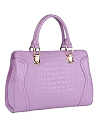 SAIERLONG Women's Cross Body Bag Handbag Tote light purple Cow Leather - CROCO Crocodile Embossing