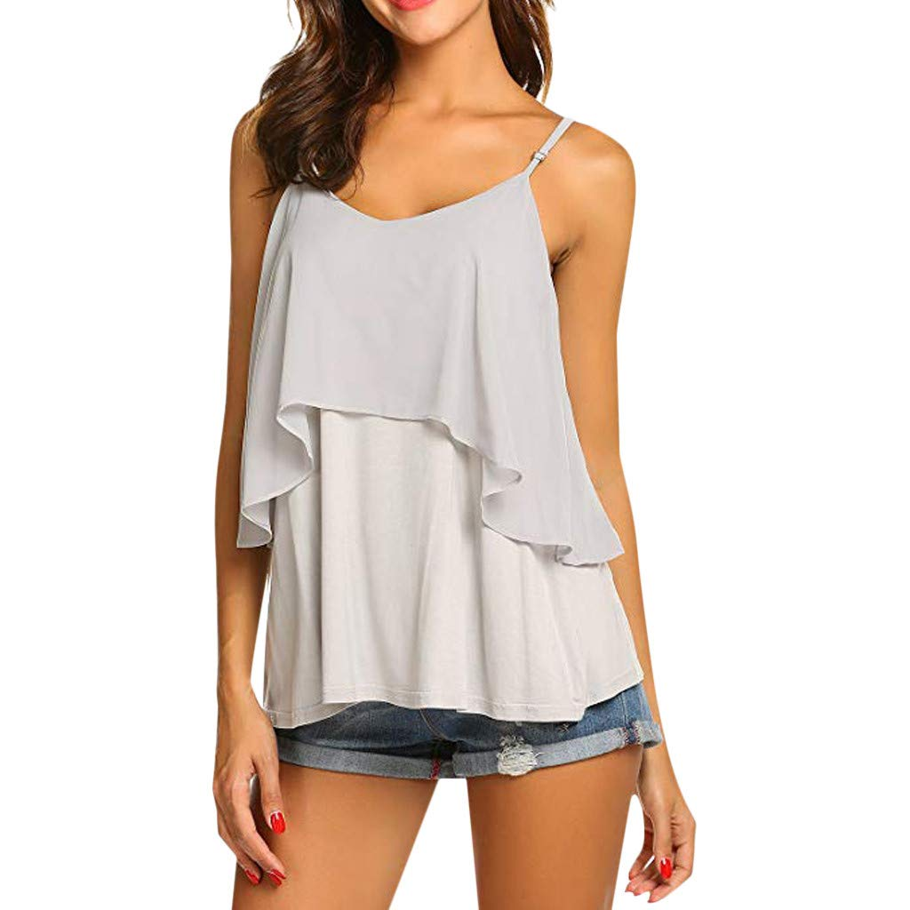 2019 Women Sexy V Neck Sleeveless Camis Summer Tank Tops Patchwork Casual Blouses (Gray, S) by Tanlo (Image #1)