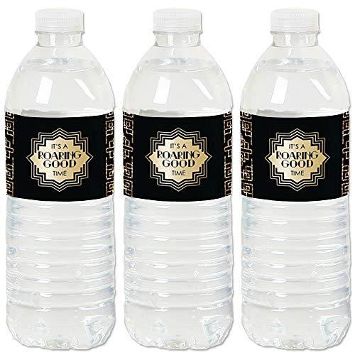 Roaring 20's - 1920s Art Deco Jazz Party Water Bottle Sticker Labels - Set of 20 ()