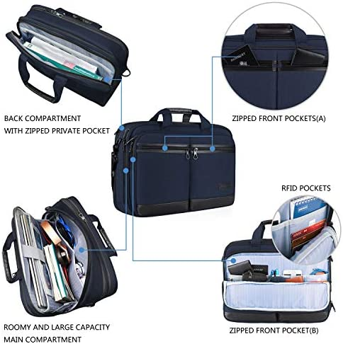"KROSER 18"" Laptop Bag Stylish Laptop Briefcase Fits Up to 17.3 Inch Laptop Expandable Water-Repellent Shoulder Messenger Computer Bag with RFID Pocket for Travel/Business/School/College/Men/Women-Navy"