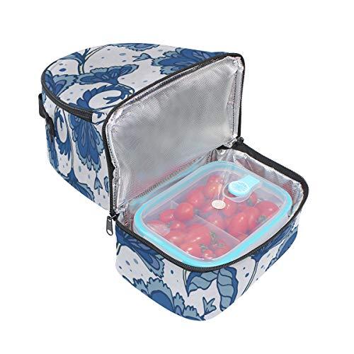 rétro bandoulière Tote imprimé pour Cooler avec réglable Vintrage floral Folpply lunch Pincnic Boîte l'école Sac à isotherme à 51RFnxwCnq