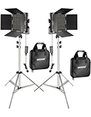 Neewer 2-Pack 660 LED Video Light with 78.7-inch Stainless Steel Light Stand Kit: Dimmable Bi-color LED Panel with U Bracket, Barndoor(3200-5600K,CRI 96+) for Studio Portrait,YouTube Video(UK PLUG)