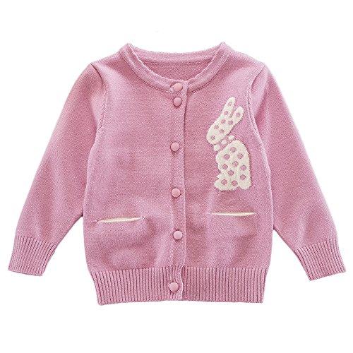 Moonnut Little Girls' Cute Rabbit Knit Cardigan Sweater,18-24M,Rose Pink by Moonnut