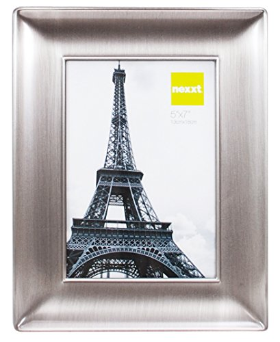 nexxt Devyn Metal Picture Frame with Velvet Backing, 5 by 7 Inch, Pewter Finish (Photo Pewter)