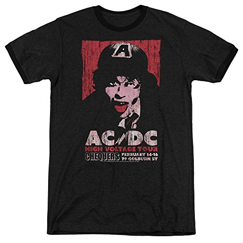 ACDC High Voltage Live 1975 Unisex Adult Ringer T Shirt for Men and Women, Medium Black