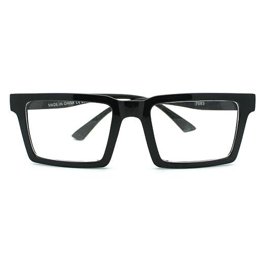 Amazoncom Square Rectangular Frame Clear Lens Eye Glasses Black