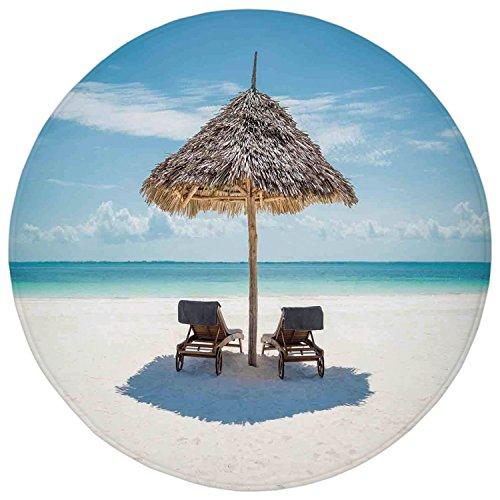 Zanzibar Leather (2.95 Ft Round Bathroom Rug,Seaside,Wooden Sun Loungers Facing Eastern Ocean under a Thatched Umbrella in Zanzibar,Turquoise Cream,Flannel Microfiber Non-slip Soft Absorbent Kitchen Floor Bath Mat Carp)