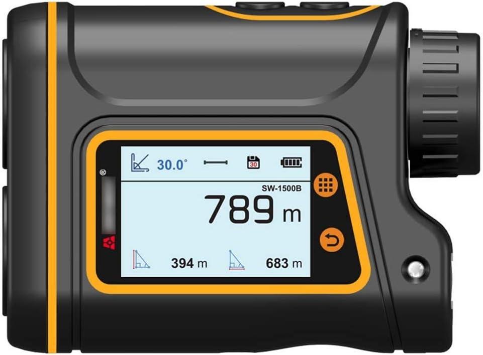 Golf Pantalla LCD con Visor de Alcance láser, Aumento de 6X, Rango de 1500M Ángulo Altura Velocidad Área de Prueba Tamaño Asta de Bandera Corrección balística IP54 Impermeable, Carga USB Conveniente