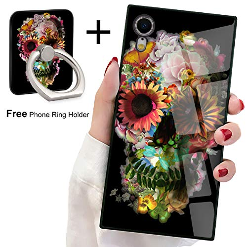 Bitobe iPhone XR Square Edges Case with Phone Ring Stand Grip Holder Sugar Skull Soft TPU Slim Square Case Phone Cover for iPhone XR ()