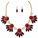 Multi Color Statement Gold Tone Statement Bib Bubble Necklace Earrings Set (RED)