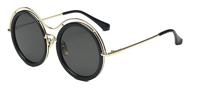 JYR Women Men Charmming Tide Style Mirror Reflective Round Metal Polarized Cateye Sunglass - Golden - Brown oOgJZpuB