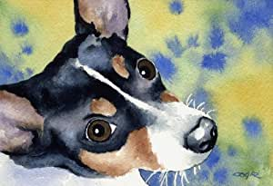 """Rat Terrier"" Dog Art Print Signed by Artist DJ Rogers"