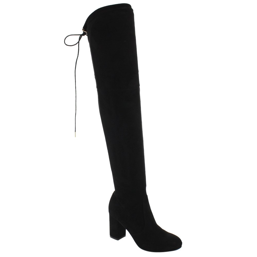 BESTON FD19 Women's Over The Knee Drawstring Block Heel Boots Full Size Small, Color:Black, Size:7