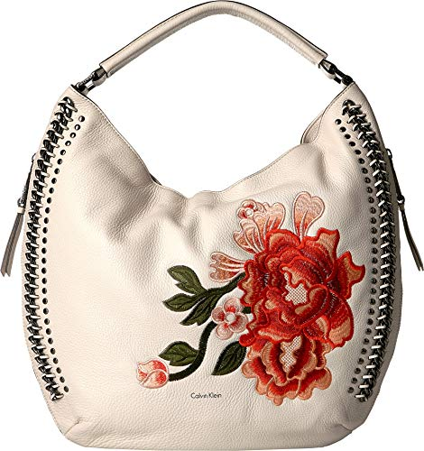 (Calvin Klein Women's Flower Embroidery Hobo Floral White One)