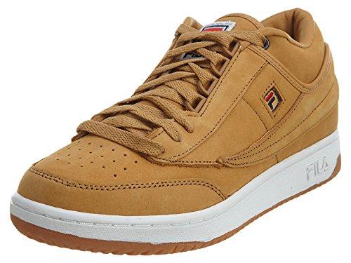 Fila Mens T-1 Mid Leather, Sneaker Atletico In Gomma Per Whet / Wht / Gum