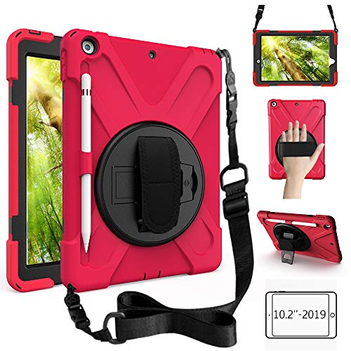 ZenRich New iPad 10.2 Case 2019, iPad 7th Generation Case with Pencil Holder, Rotatable Kickstand, Hand Strap and Shoulder Strap, Shockproof Case for iPad 10.2 inch Tablet A2197/A2198/A2199/A2200-Red