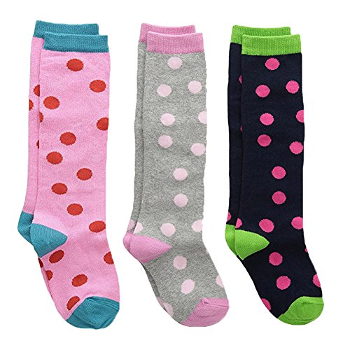 Country Kids Girls' Fun Polka Dot Patterned Knee Hi Cotton Socks, Pack of 3, Fits 2-4 years (shoe size 6-11.5), Pink/Gray/Navy ()