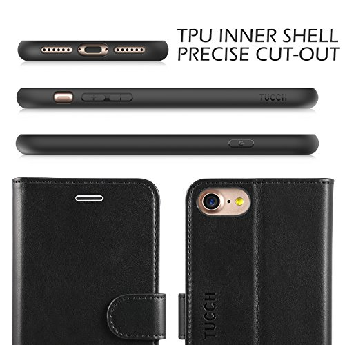 iPhone 8 Case, iPhone 7 Wallet Case, TUCCH Premium PU Leather Flip Folio Wallet Case with Card Slot, Cash Clip, Stand Holder and Magnetic Closure [TPU Shockproof Interior Protective Case], Black by TUCCH (Image #3)
