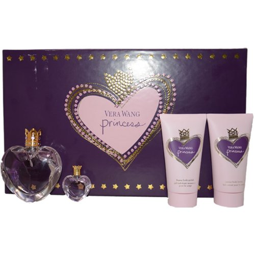 Vera Wang Princess By Vera Wang 4 Piece Set: 1.7oz EDT Spray+2.5 Oz Satiny Body Lotion+ 2.5 Oz Foamy Body Polish+ 0.13 Oz/4ml Parfum