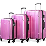 Merax Luggage 3 Piece Set P.E.T Luggage Spinner Suitcase Lightweight 20 24 28inch (Pink.)