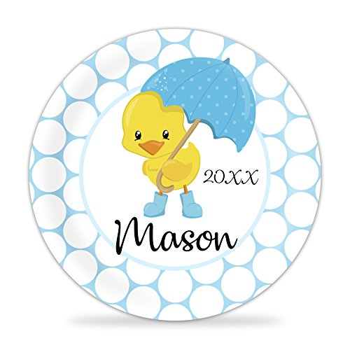 April Showers Duck Plate - Blue Spring Baby Melamine Personalized Name Plate