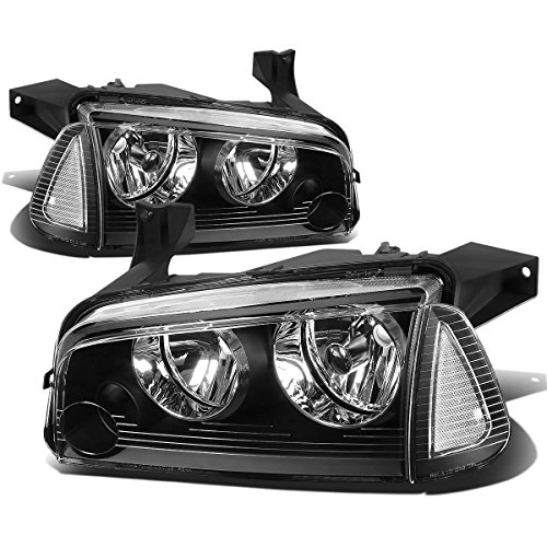 For Dodge Charger LX 4pcs Black Housing Clear Lens Headlight+Corner Signal Lamp