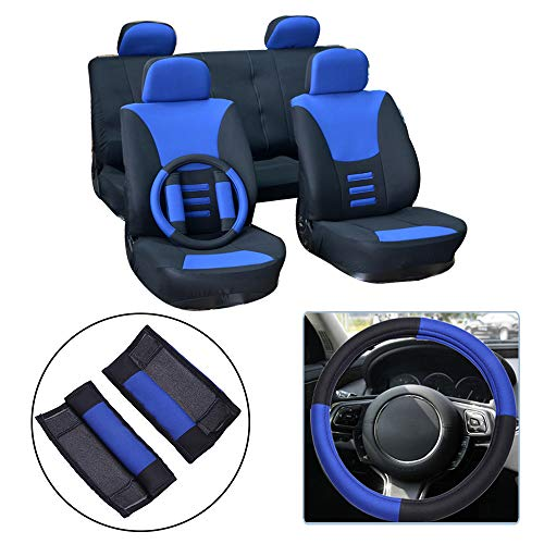 , Stretchy Universal Seat Cushion w/Headrest Cover/Steering Wheel/Shoulder Pads 100% Breathable Automotive Accessories with Durable Washable Polyester for Most Cars(Black/Blue) ()