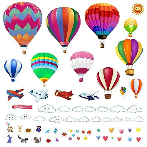 (Hot Air Balloons Wall Decals Stickers: Precut Decorative Vinyl Peel and Stick Hot Air Balloon Classroom Decorations Wall Art Mural for Childrens Bedroom, Baby Nursery and Playroom)