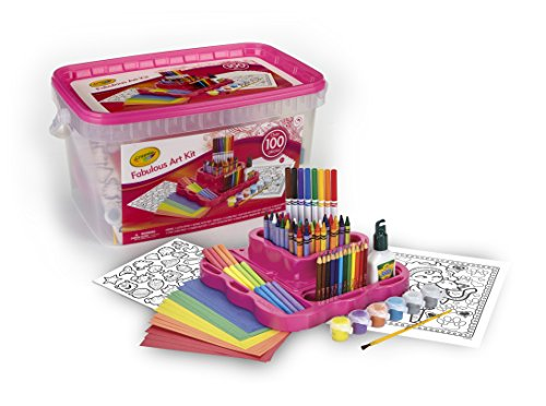 Crayola Fabulous Art Kit, Amazon Exclusive, Art Supplies, Over 100 Pieces, Gift for Girls, Age 5, 6, 7, 8 -