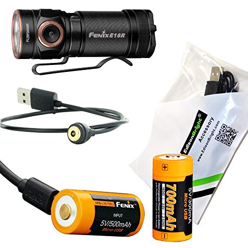 (Fenix E18R 750 Lumen CREE LED USB rechargeable compact keychain Flashlight, additional rechargeable battery with EdisonBright charging cable bundle)