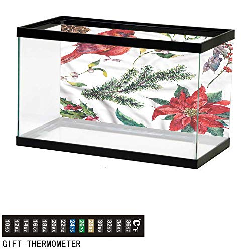 bybyhome Fish Tank Backdrop Cardinal,Christmas Flora and Fauna,Aquarium Background,48