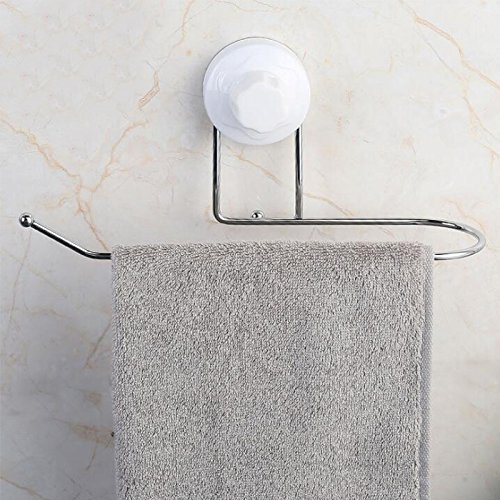 Strong Suction Cup Bathroom Stainless Steel Moisture Towel Rack Kitchen Stick Sticker Towel Rack 1960 Silver