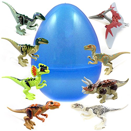Jumbo Easter Egg With 8 Building Block Dinosaur Puzzles - Lifelike 5-7 Inch Replicas of T-Rex, Stegosaurus and Friends - Perfect As Birthday Party Favors, Easter Basket Fillers, and Cake Toppers