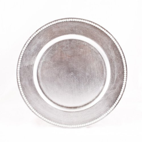 (Koyal Wholesale Charger Plates, Silver, Set of 24)